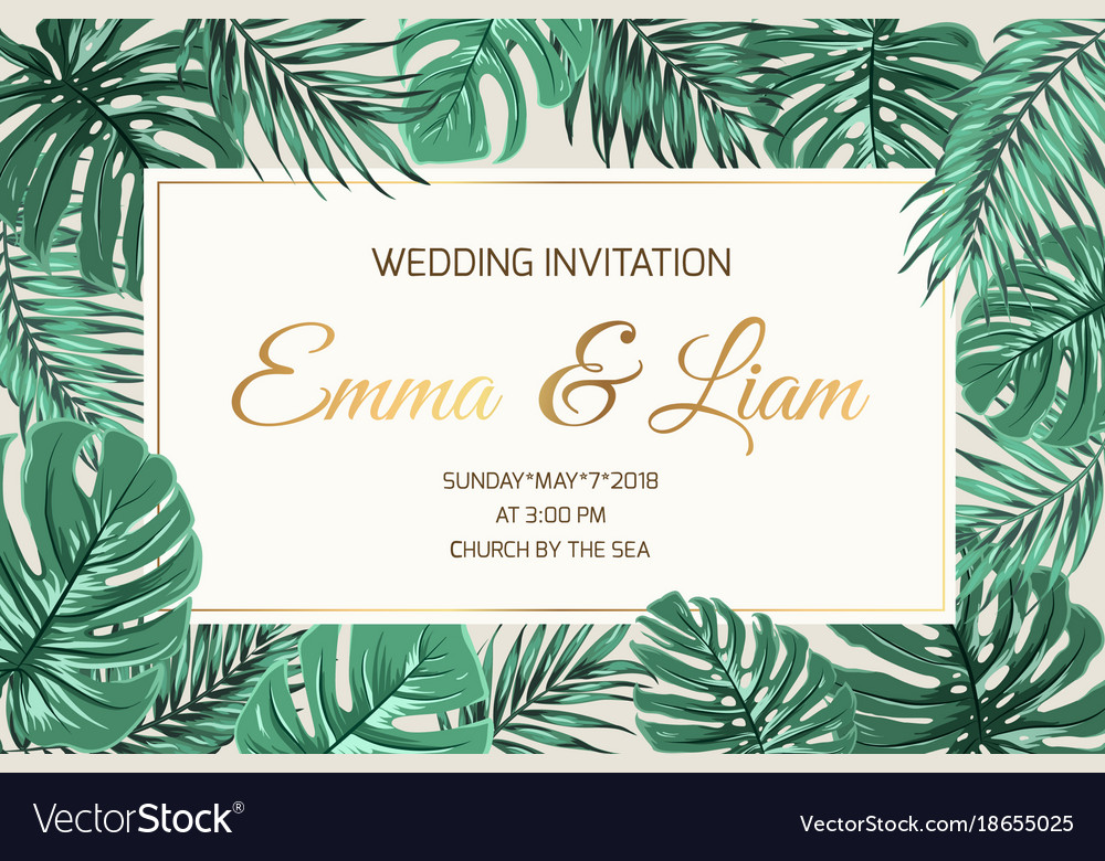 Wedding invitation exotic green leaves golden text wedding invitation exotic green leaves golden text vector image stopboris Image collections