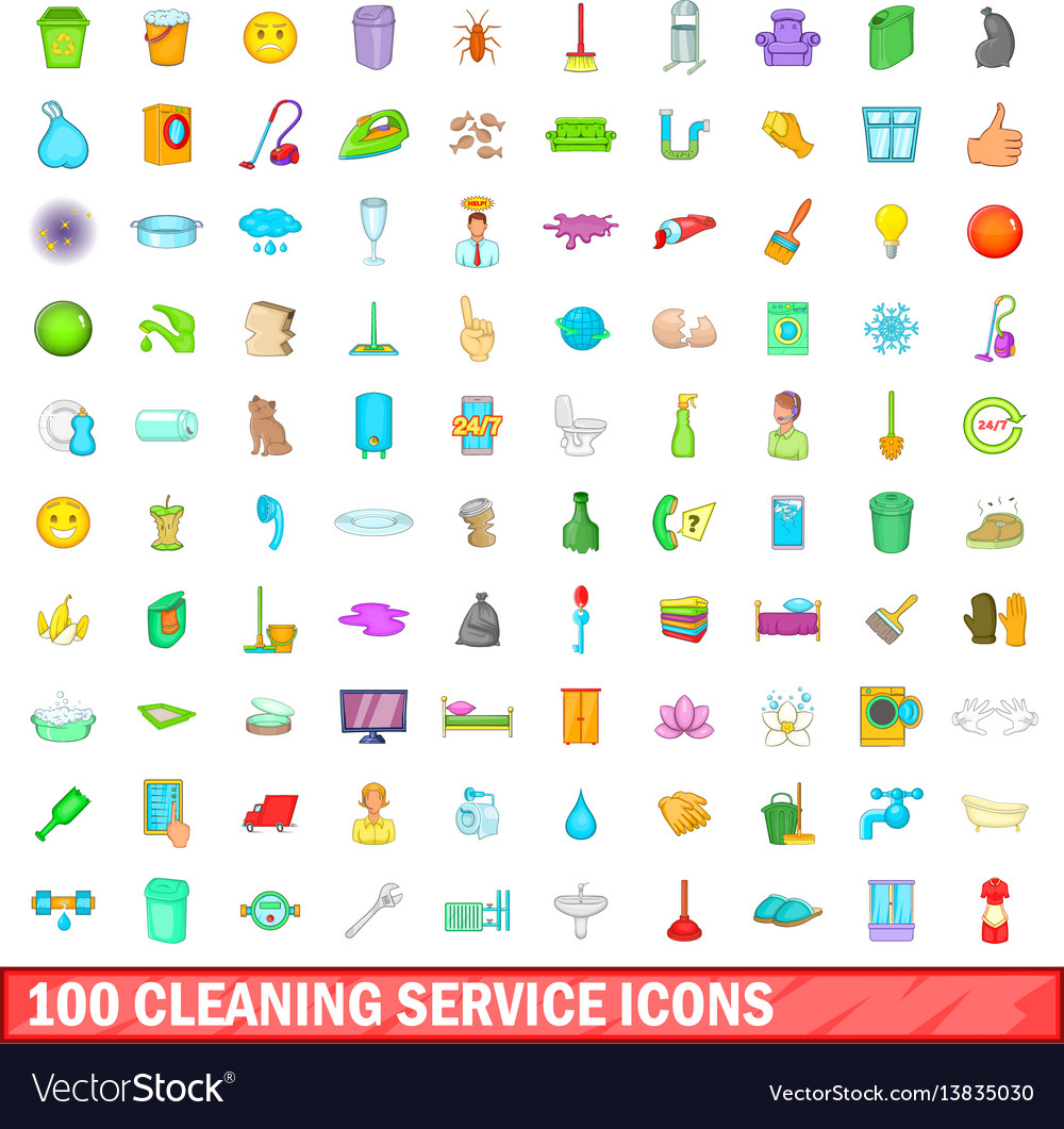 100 cleaning service icons set cartoon style