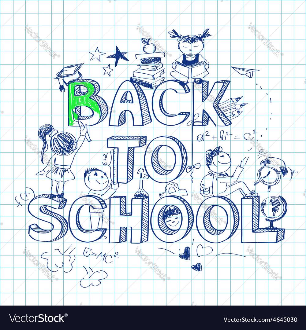 Back to school sketch background vector image