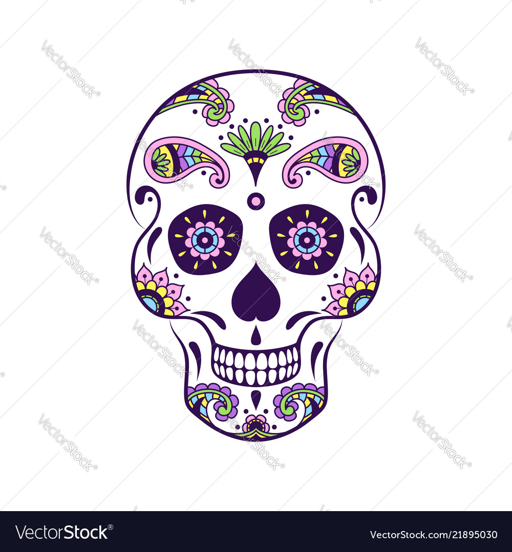 Colorful sugar skull with doodle floral pattern