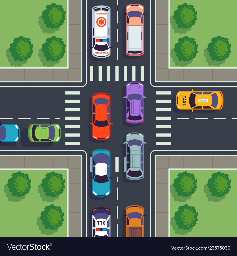 Crossroad top view city car traffic top viewing