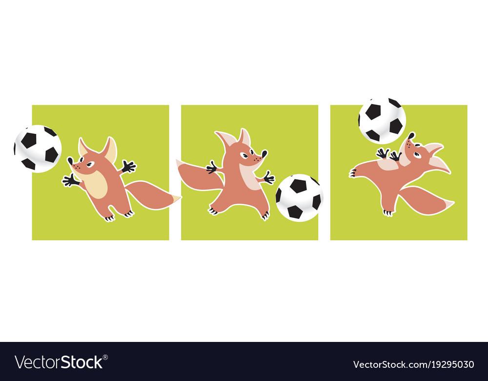 Cute fox animal mascot with soccer ball vector image