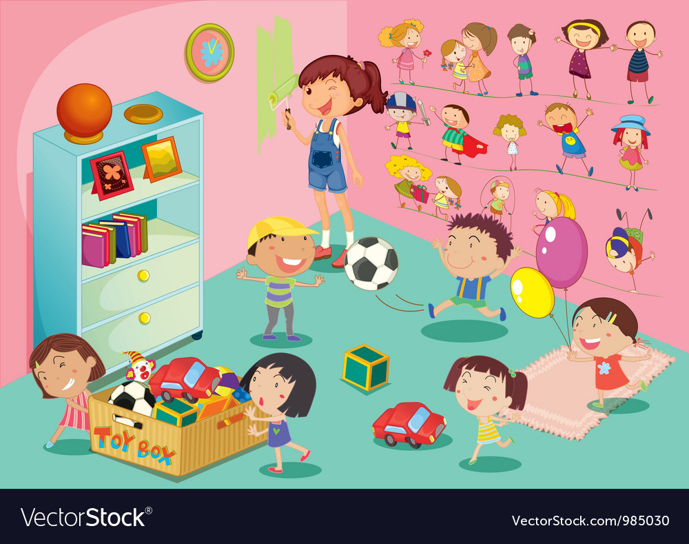 Kids playroom vector image