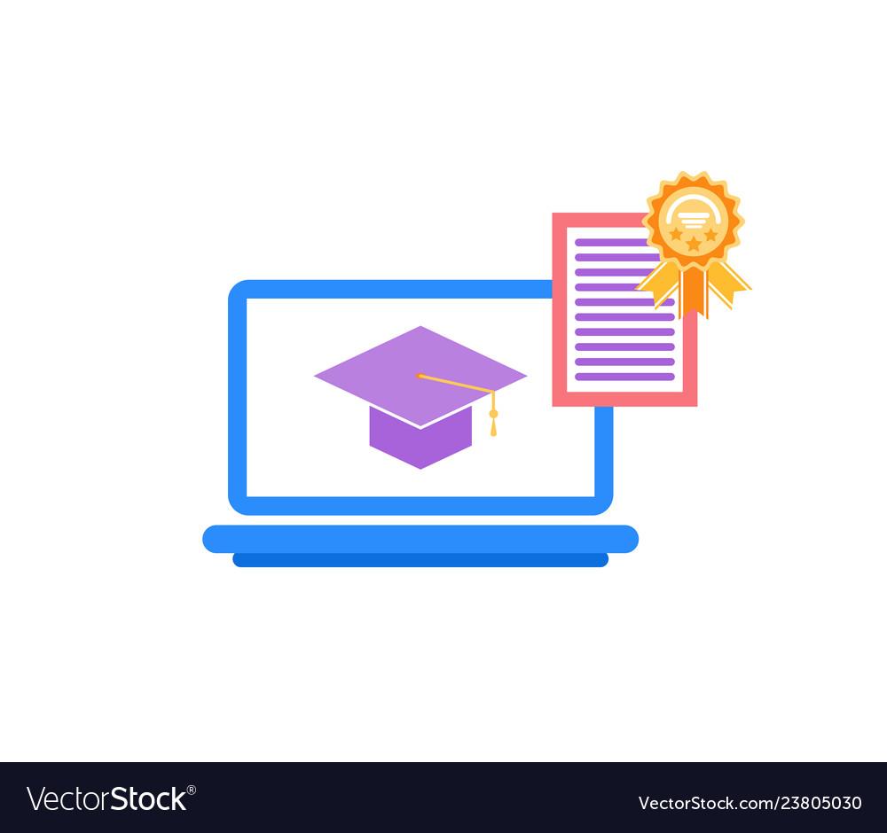 Laptop with academic cap education reward