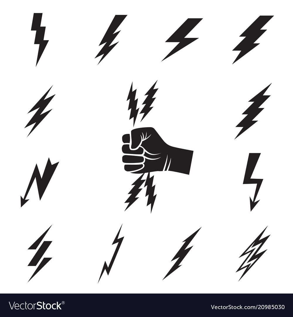 Lightning bolt icons isolated