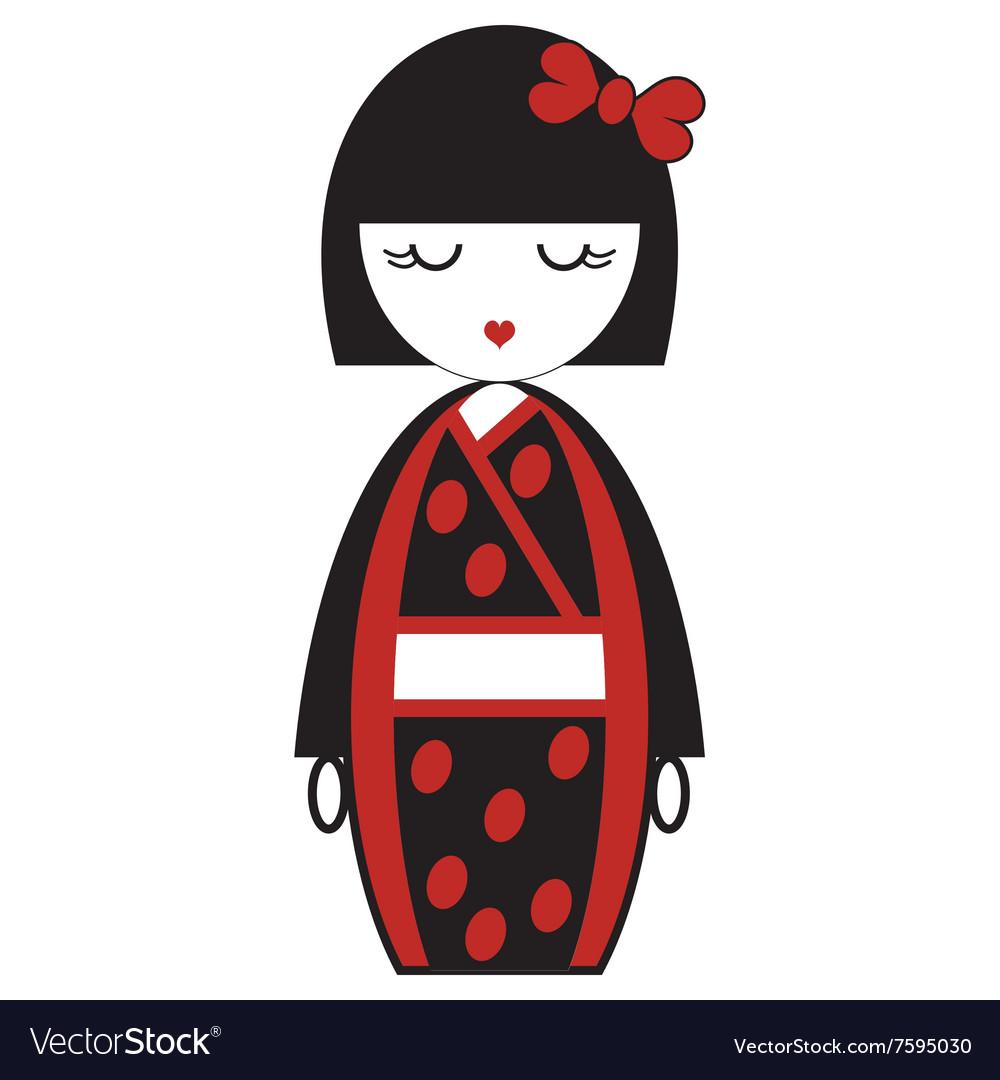 Oriental Japanese Geisha Doll With Kimono Vector Image