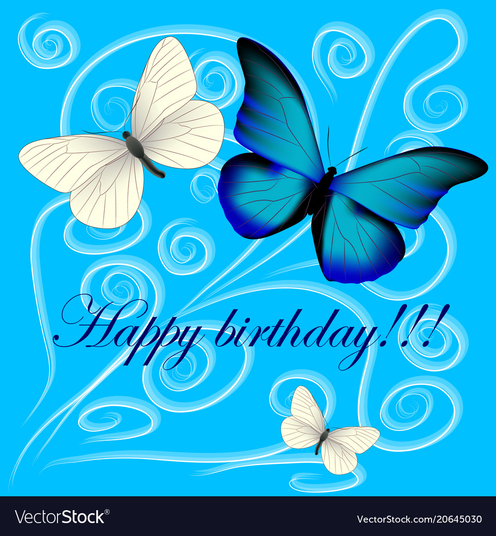 happy birthday butterfly images Postcard with a happy birthday three butterflies Vector Image happy birthday butterfly images