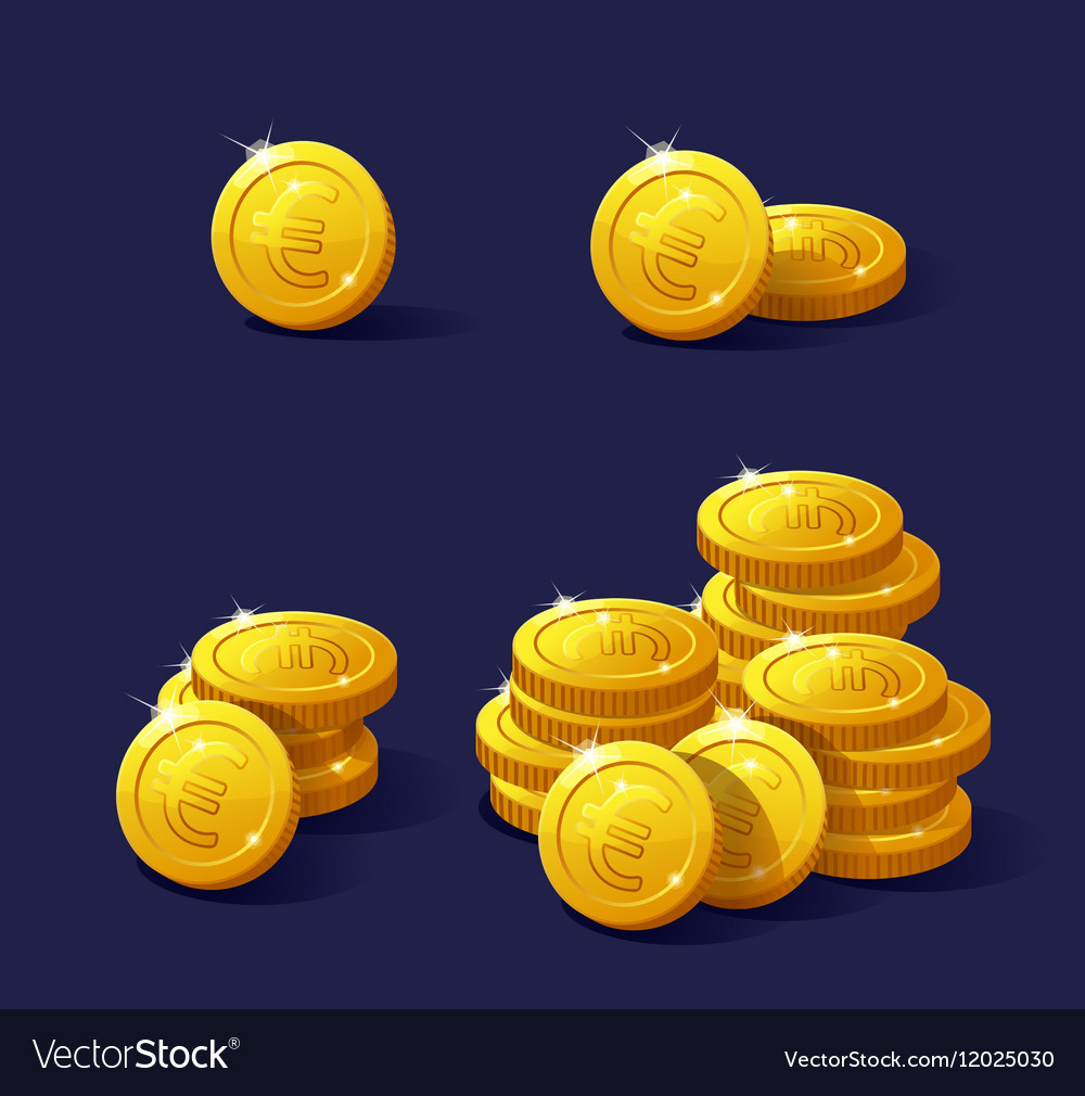 Set of cartoon coin for web and apps Stack Euro