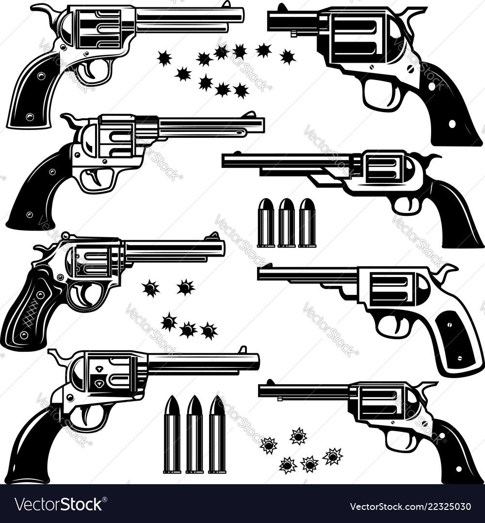 Set of revolver design element for logo label