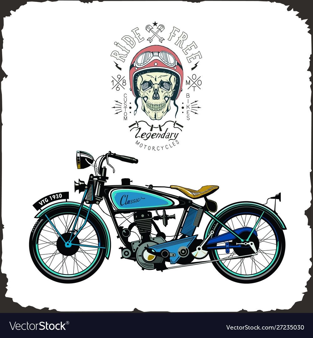 Skull rider and old bike color logo