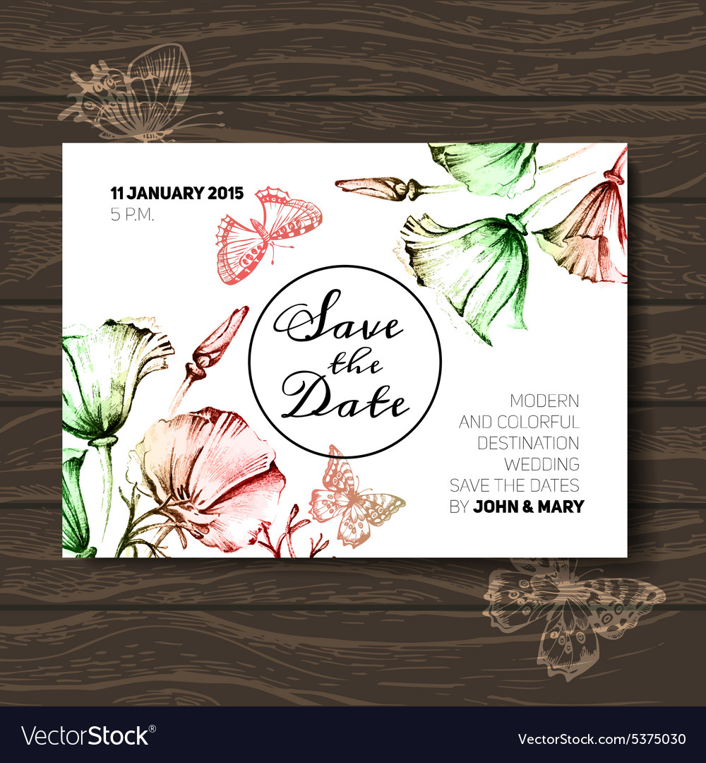 Vintage wedding invitation with flowers Save the