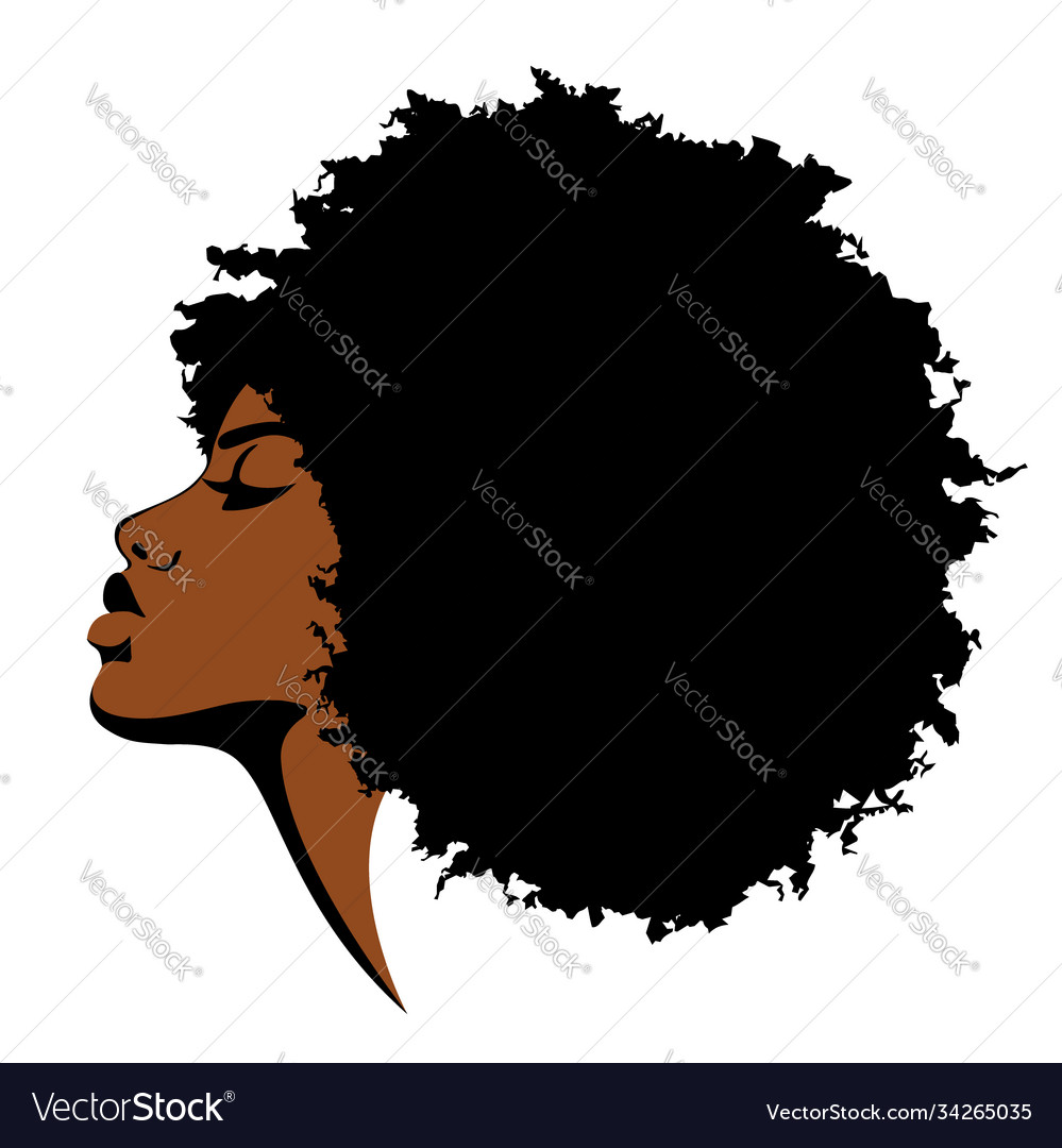Beautiful black skined woman with curly hair