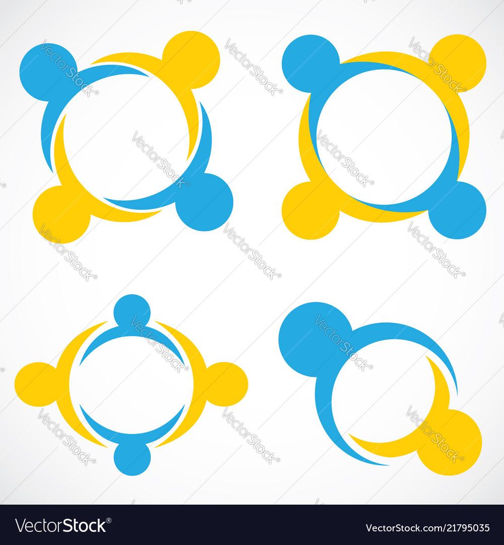 Circle shape people teamwork symbol logo