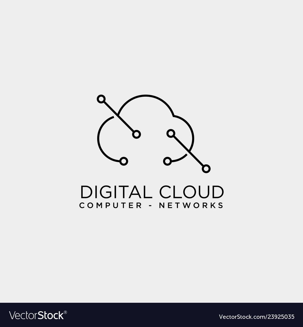 Cloud digital technology line logo template