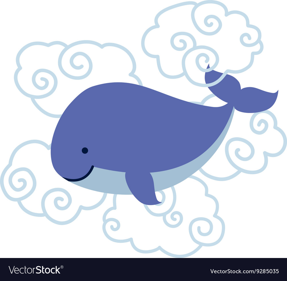 Cute cartoon whale in clouds isolated on white