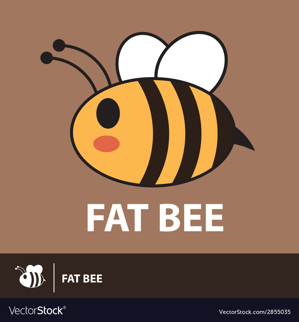 Cute fat bee symbol icon