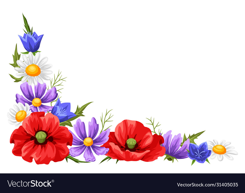 Decorative element with summer flowers