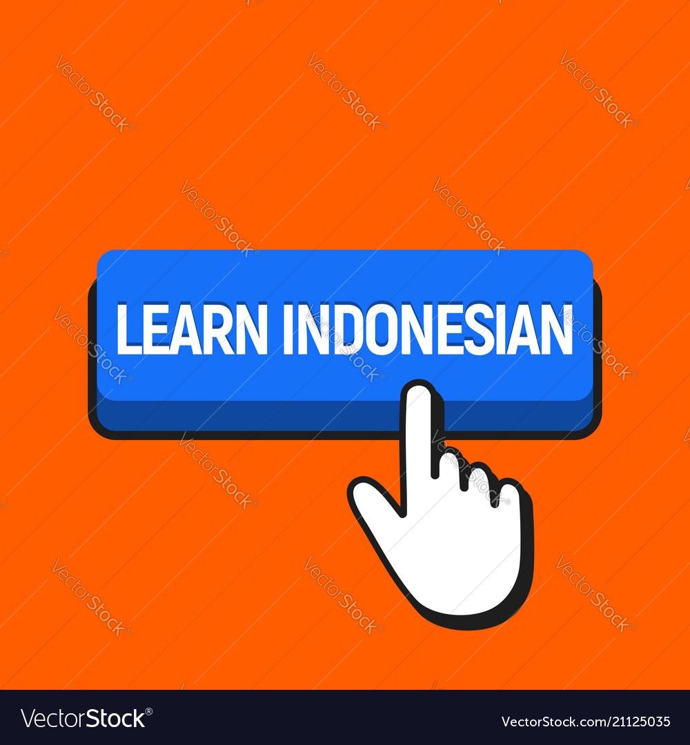 Hand mouse cursor clicks the learn indonesian