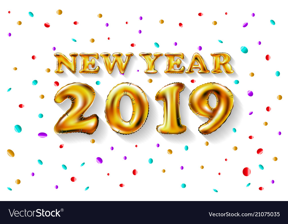 Metallic gold letter balloons 2019 happy new year Vector Image