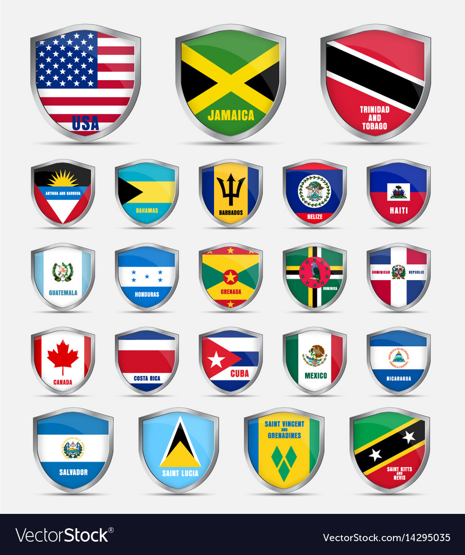 Shields with flags of the countries of north