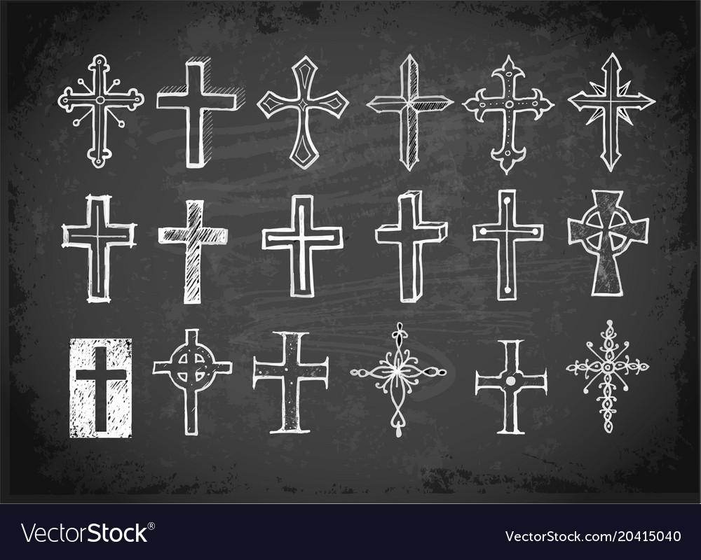 Big set of doodle sketch crosses on blackboard