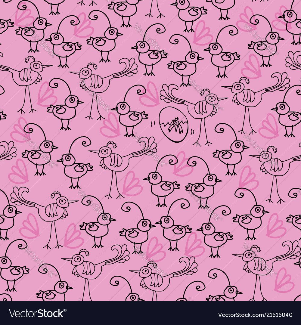 Birdies and chicks-birdies doodles seamless repeat