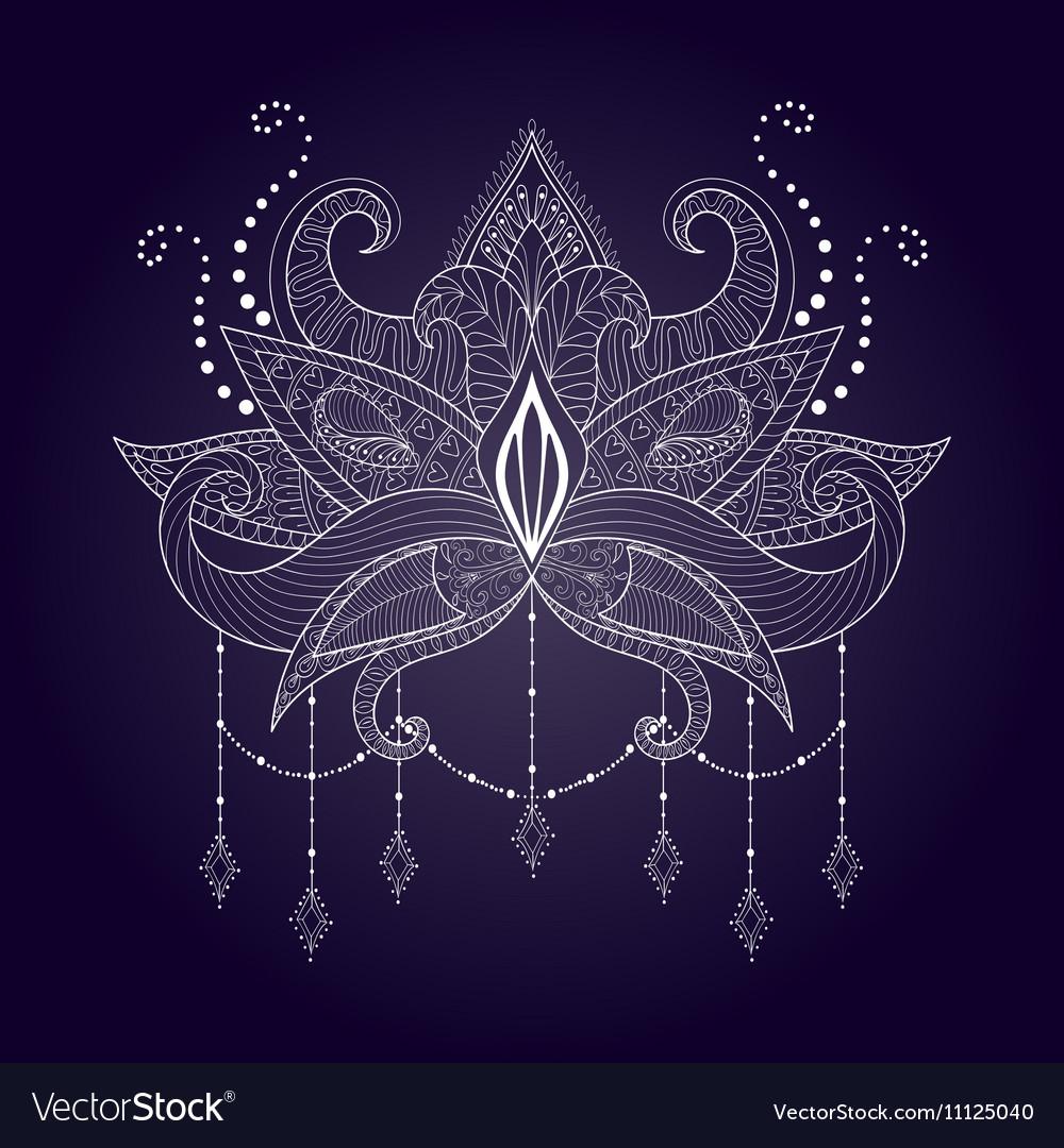 Boho ornamental white lotus flower blackwork