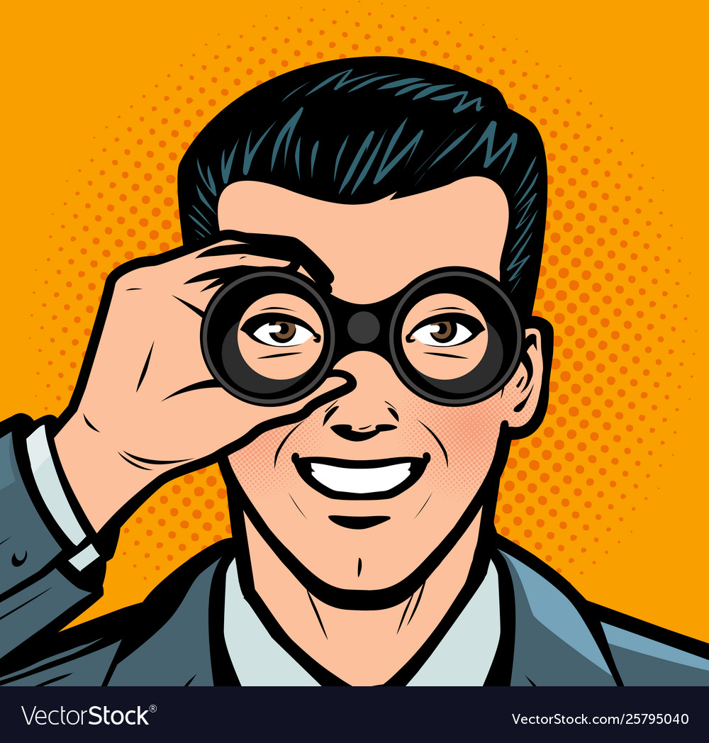 Businessman looking through binoculars business