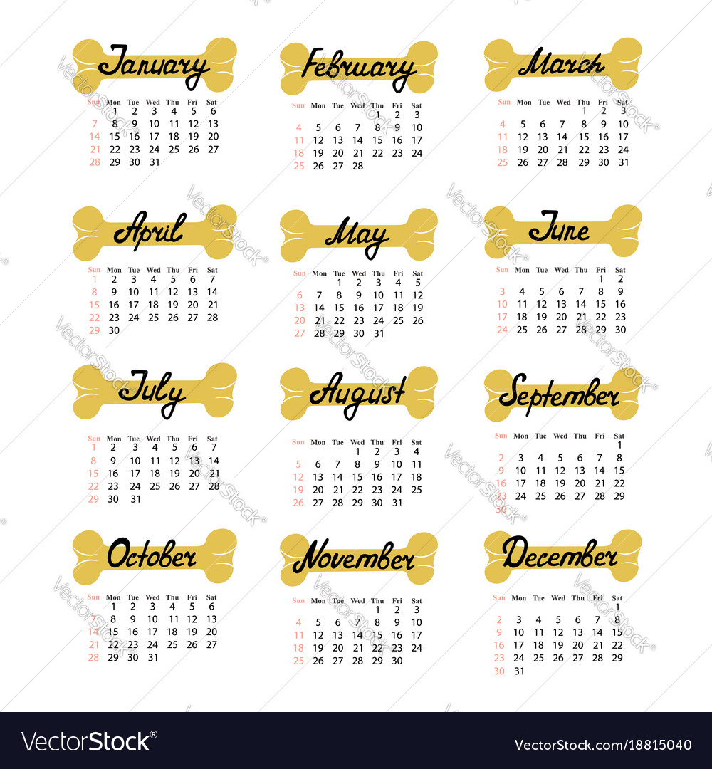 Calendar from sunday to saturday for 2018 the year