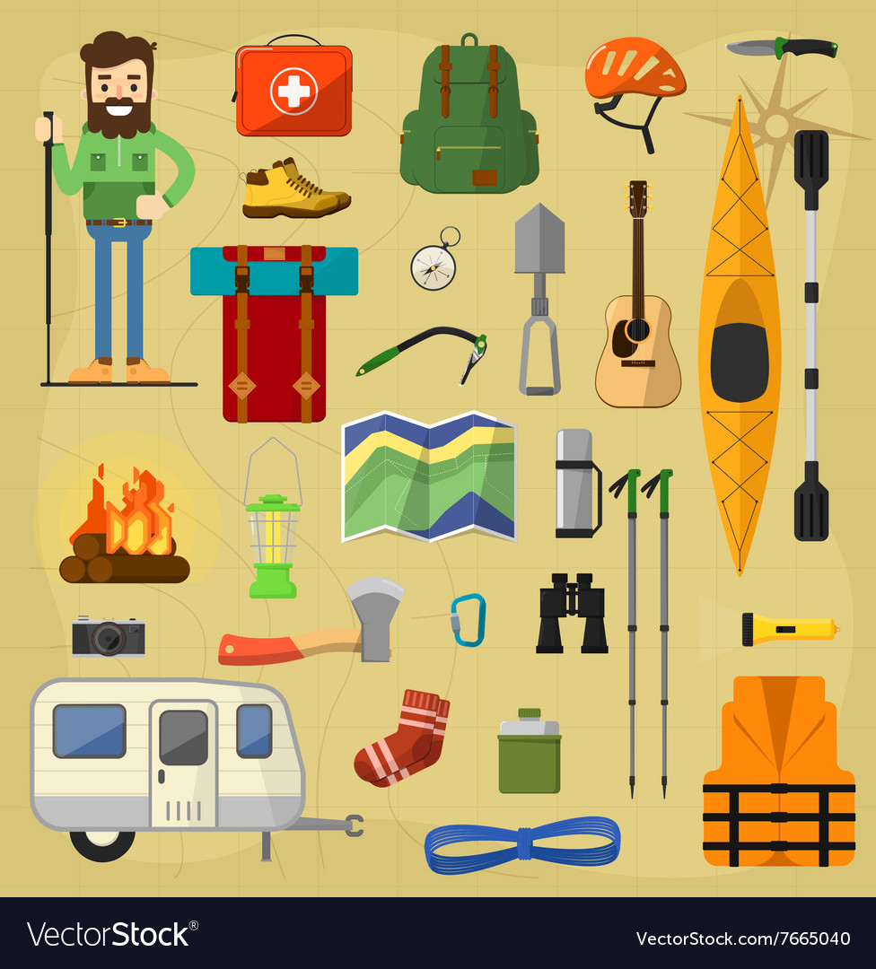 Camping equipment symbols vector image