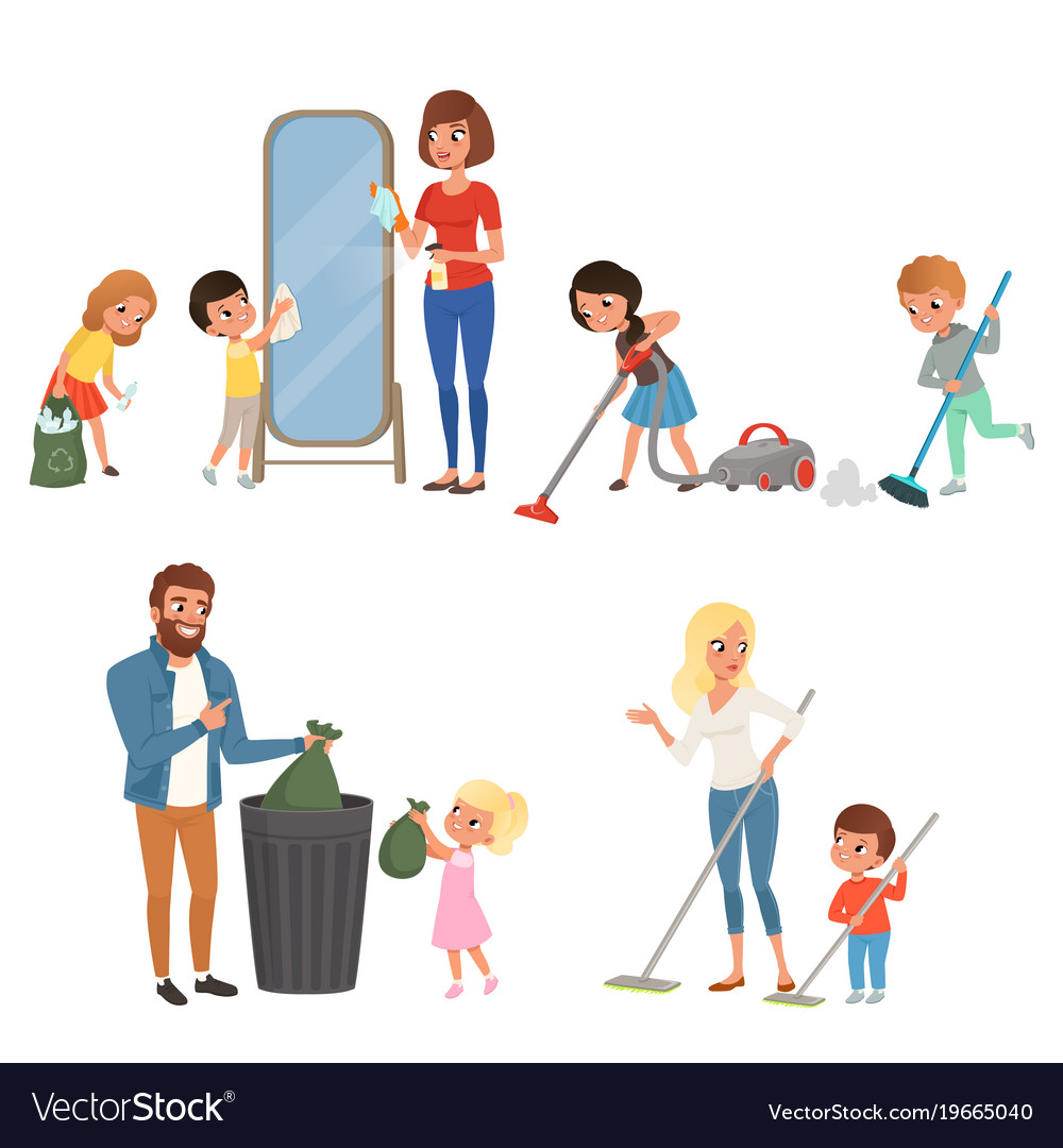 children helping their parents with housework vector image