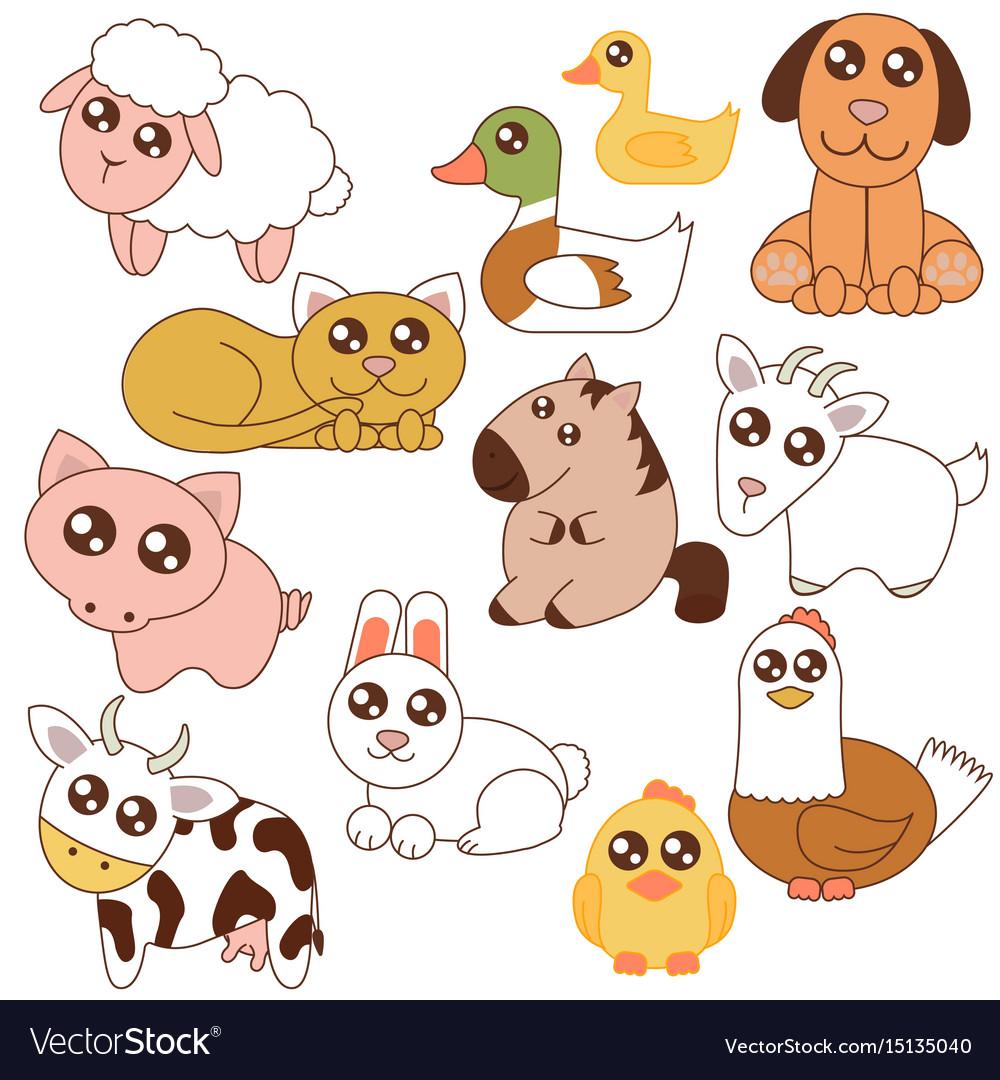 Cute farm animals set in