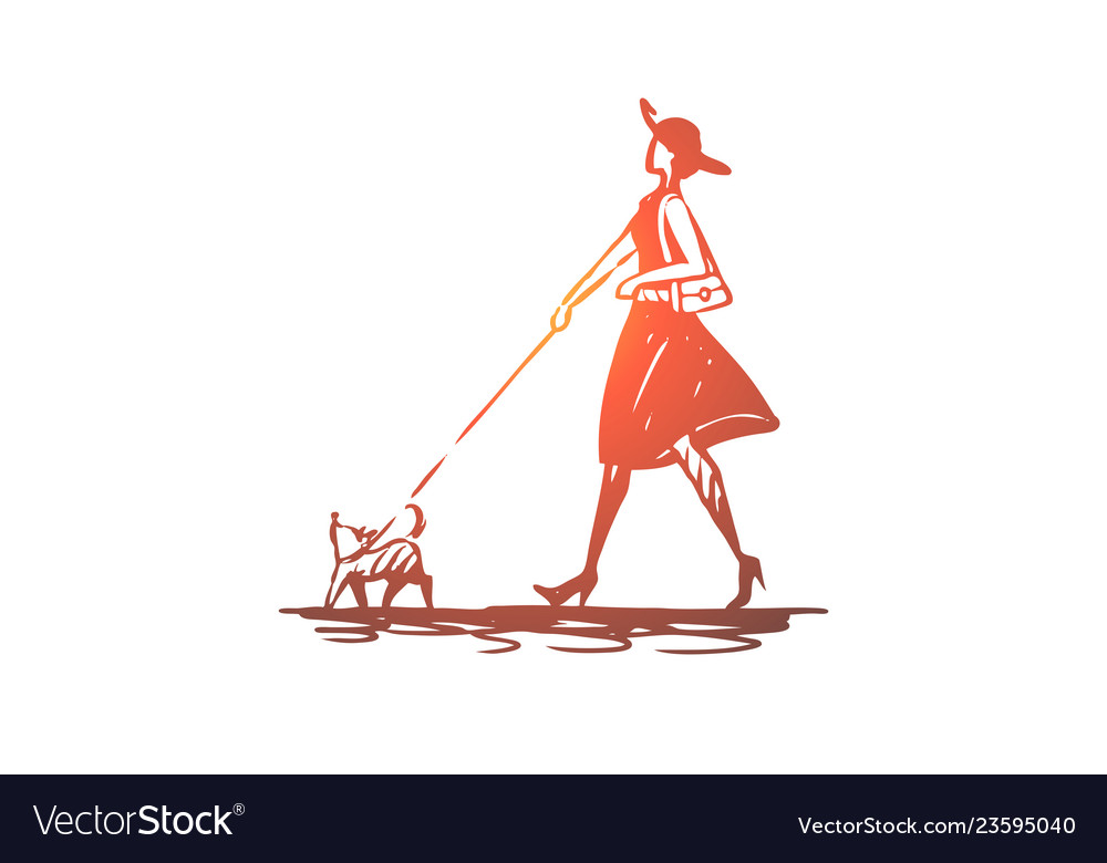 Dog girl walk pet animal concept hand drawn