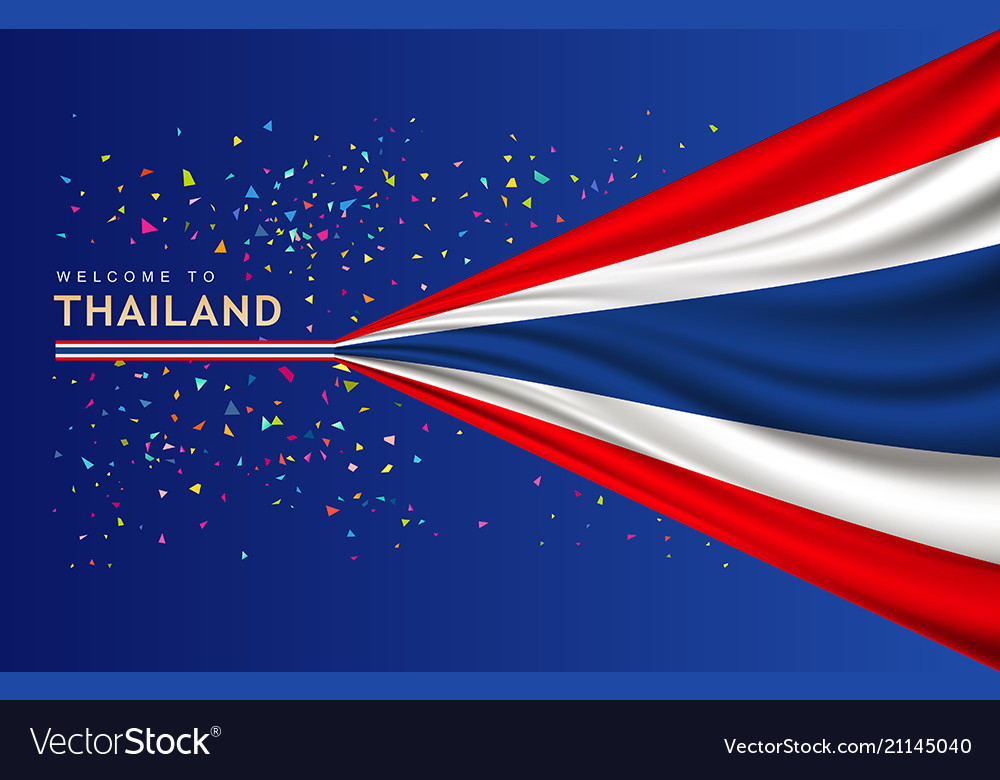 Flag of thailand banner with colorful paper
