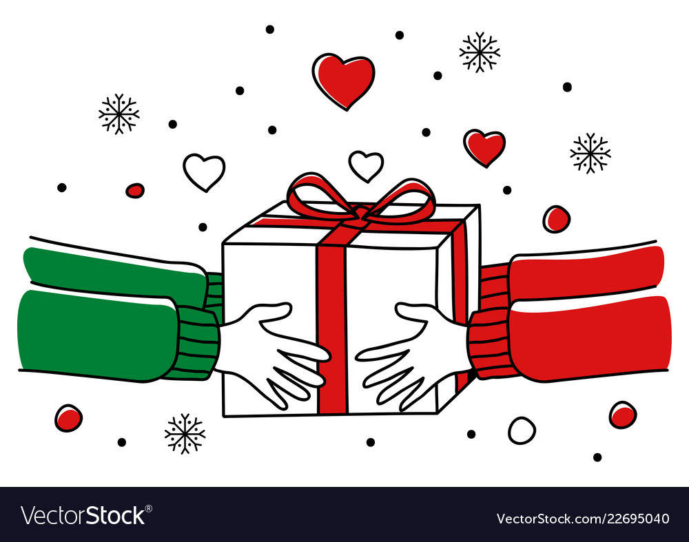 Christmas Giving Clipart.Hands Giving Christmas Present