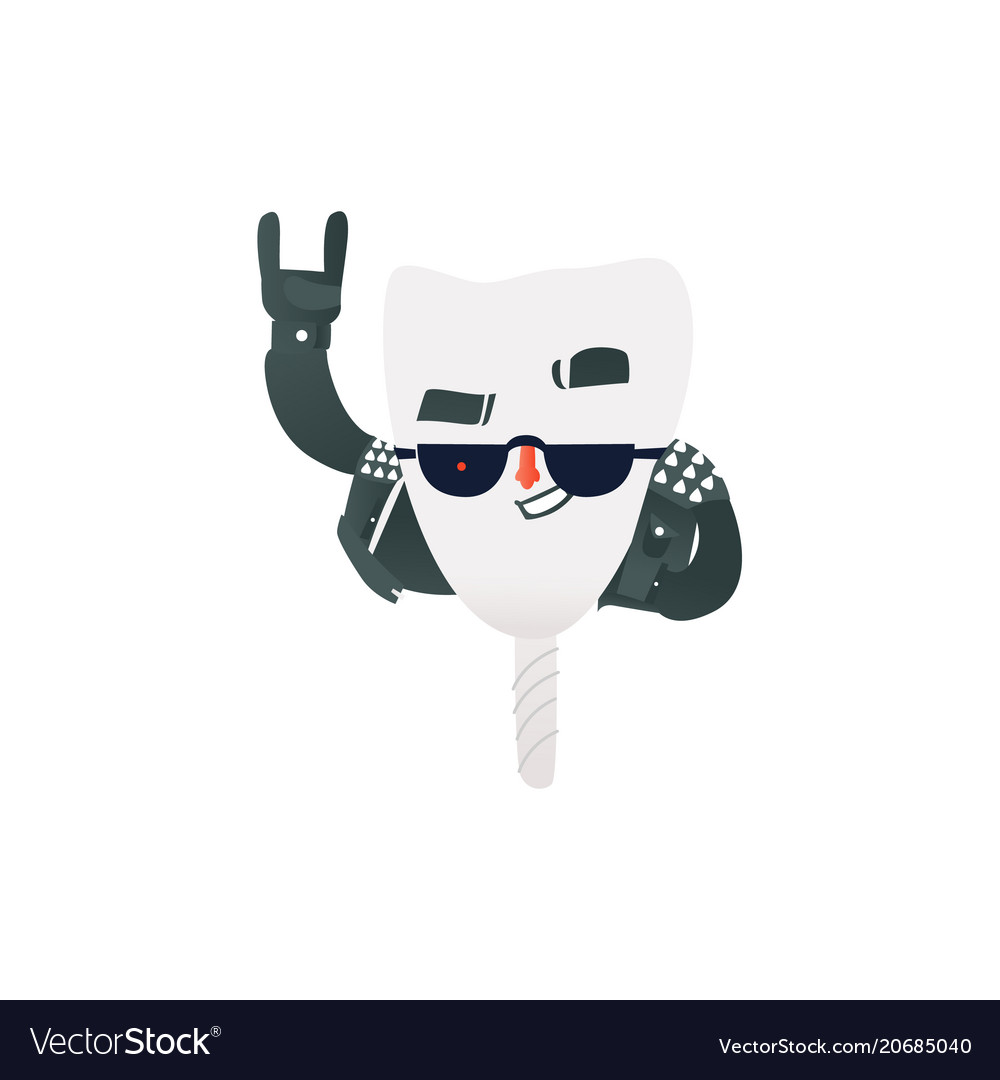 Happy healthy tooth implant in rock clothes and