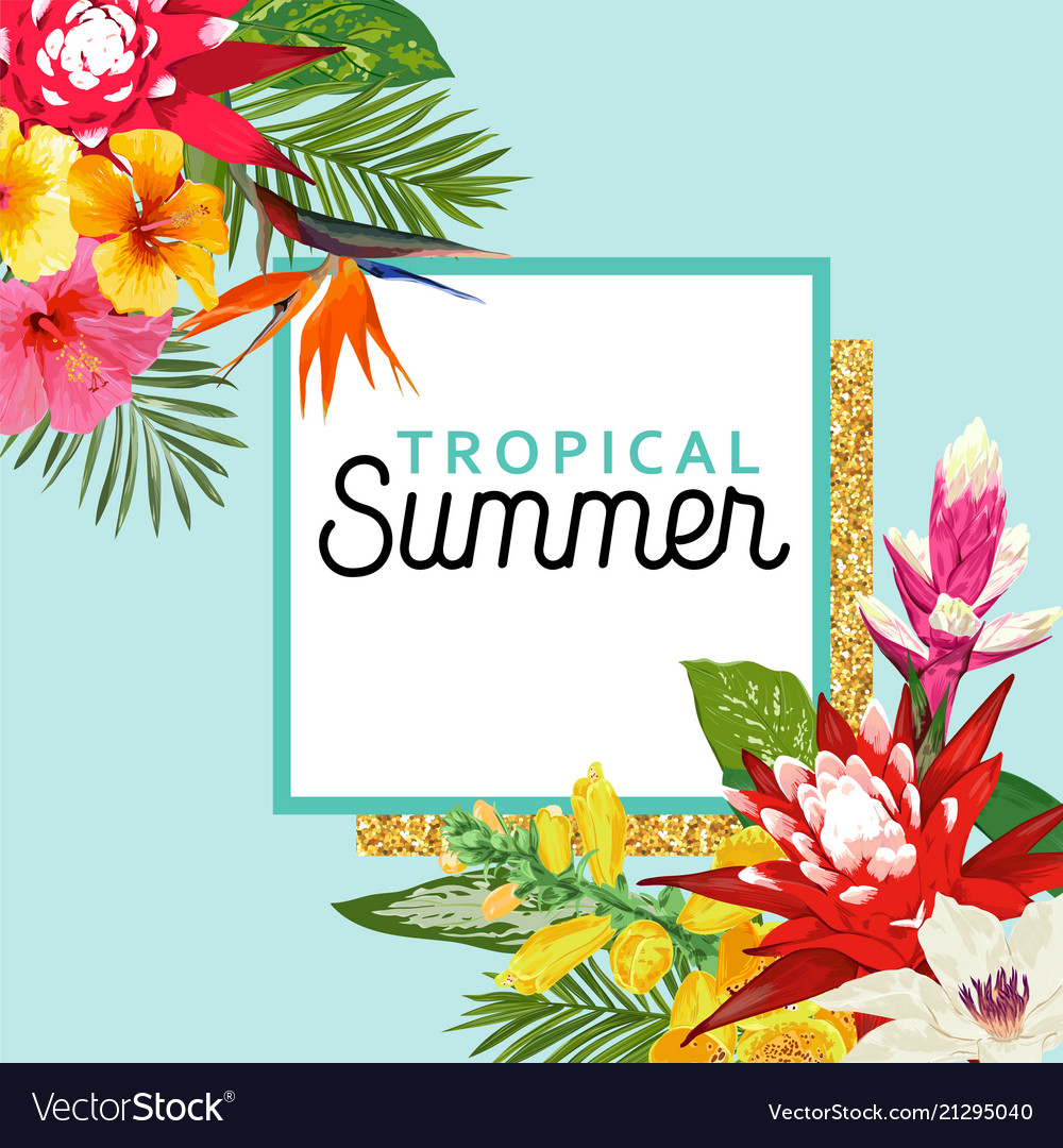 Hello summer design with tropical flowers palms
