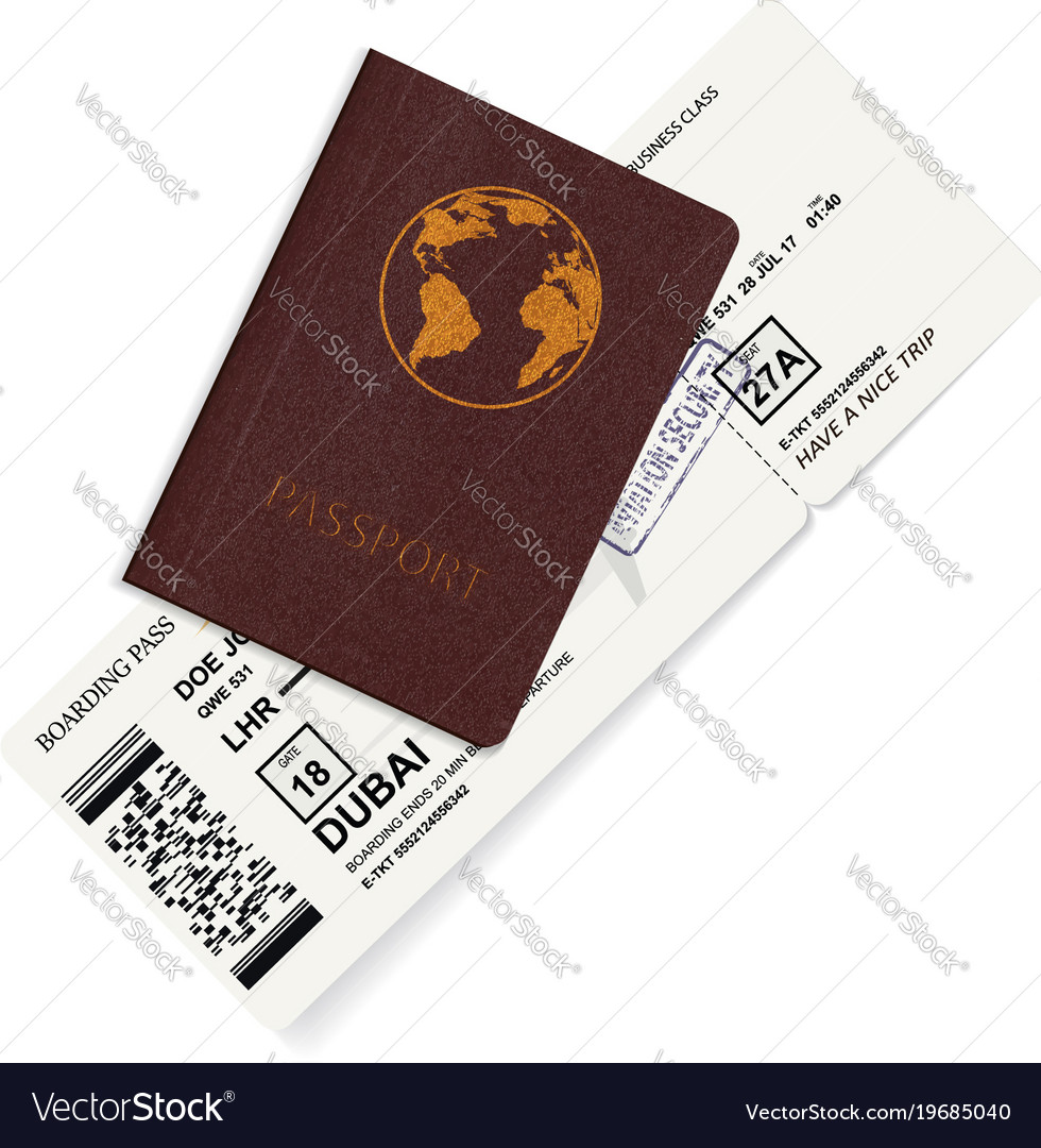 International passport with boarding pass ticket