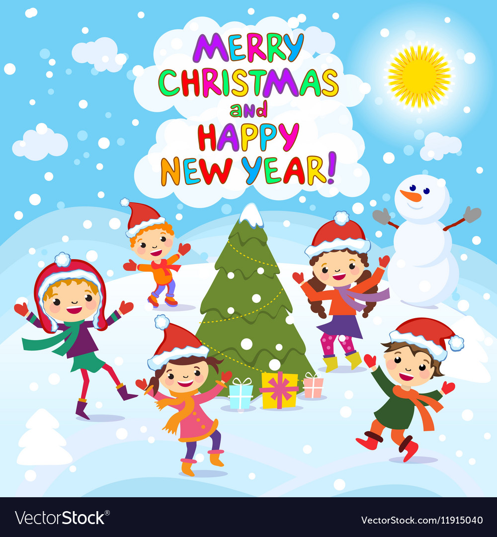 Merry Christmas And Happy New Year 2017 Winter fun