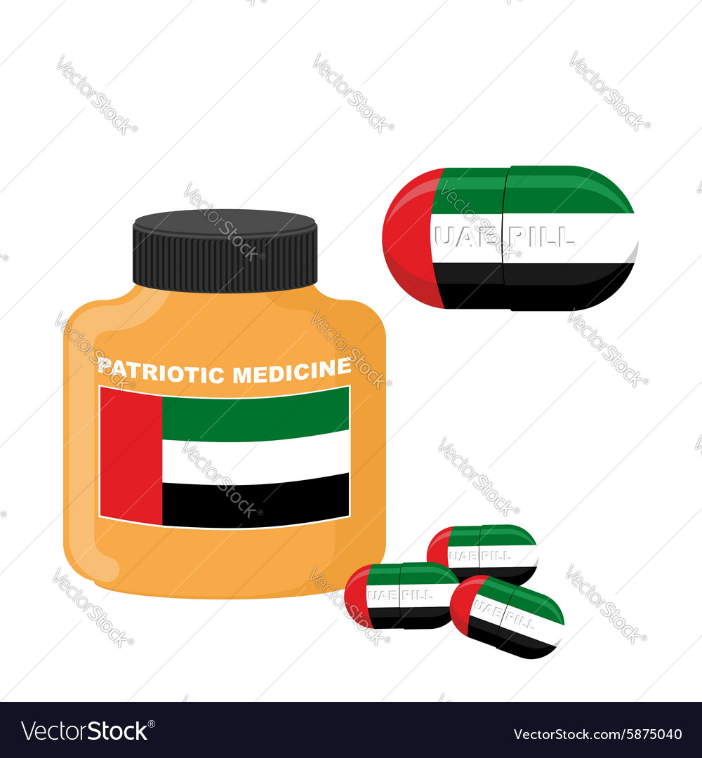 National Patriotic medicine UAE Pill with the flag