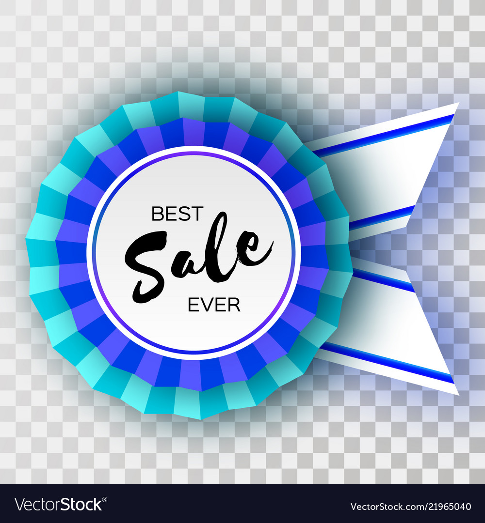 Sale blue ribbon banner in paper cut style