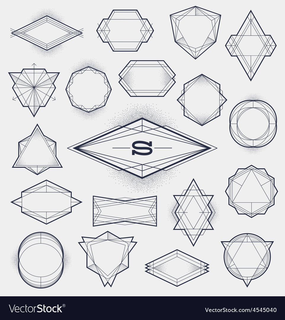 Set of Line art hipster abstract frames