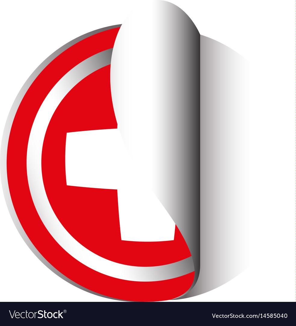 Sticker design for swiss flag vector image