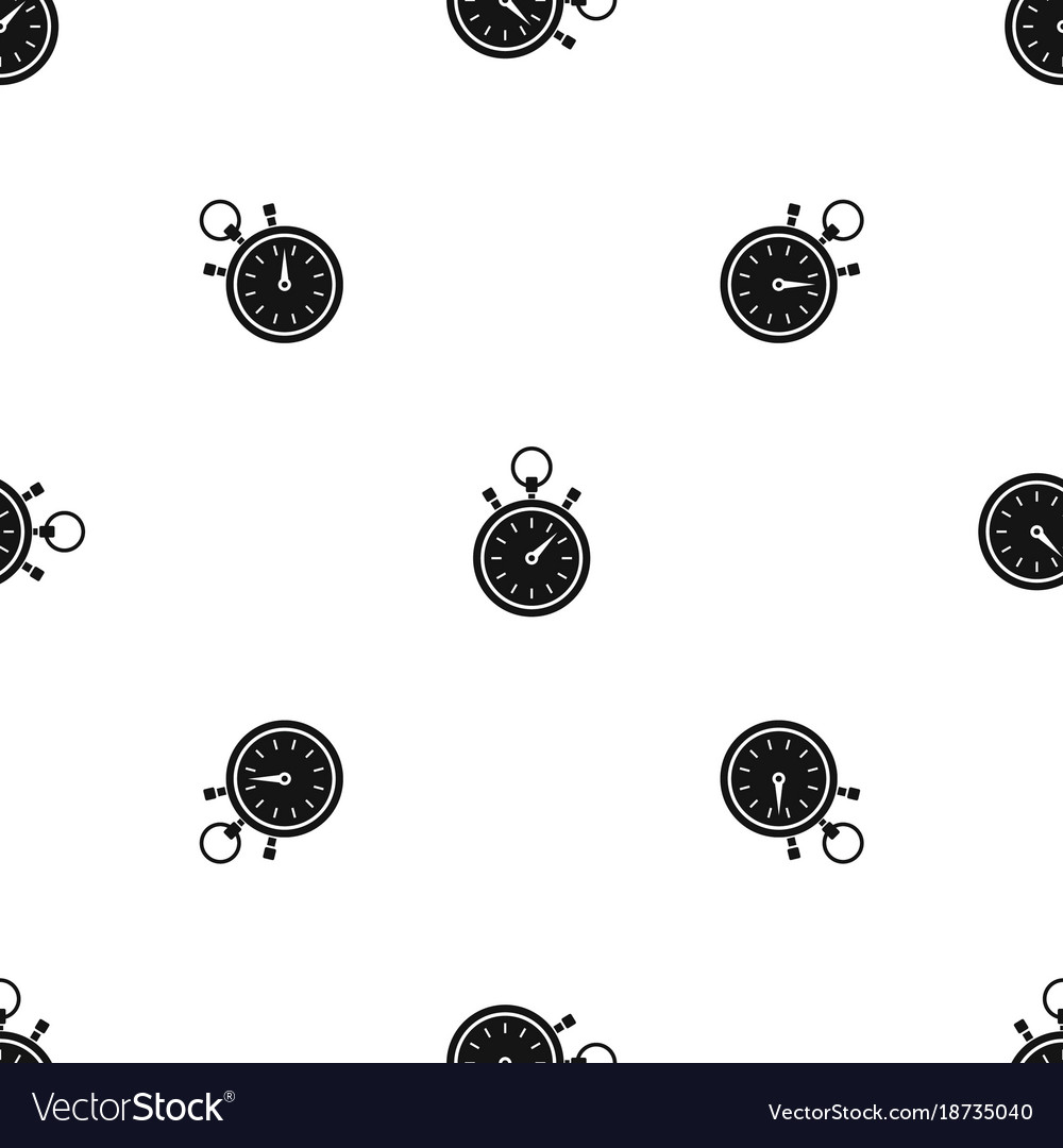 Stopwatch pattern seamless black vector image