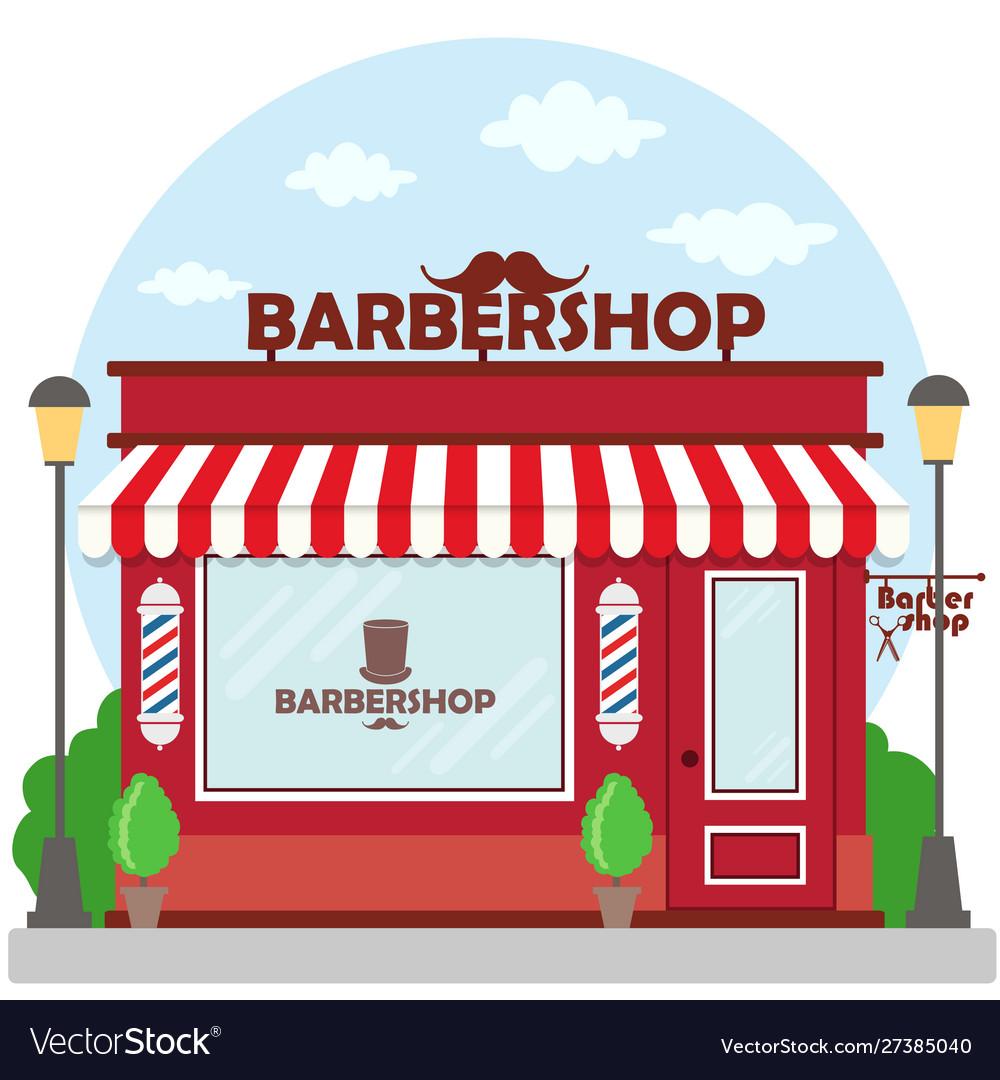 Street Building Facade Barbershop Front Shop Vector Image