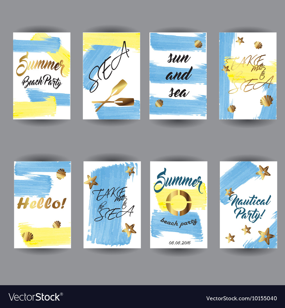 Summer hand drawn card posters set vector image