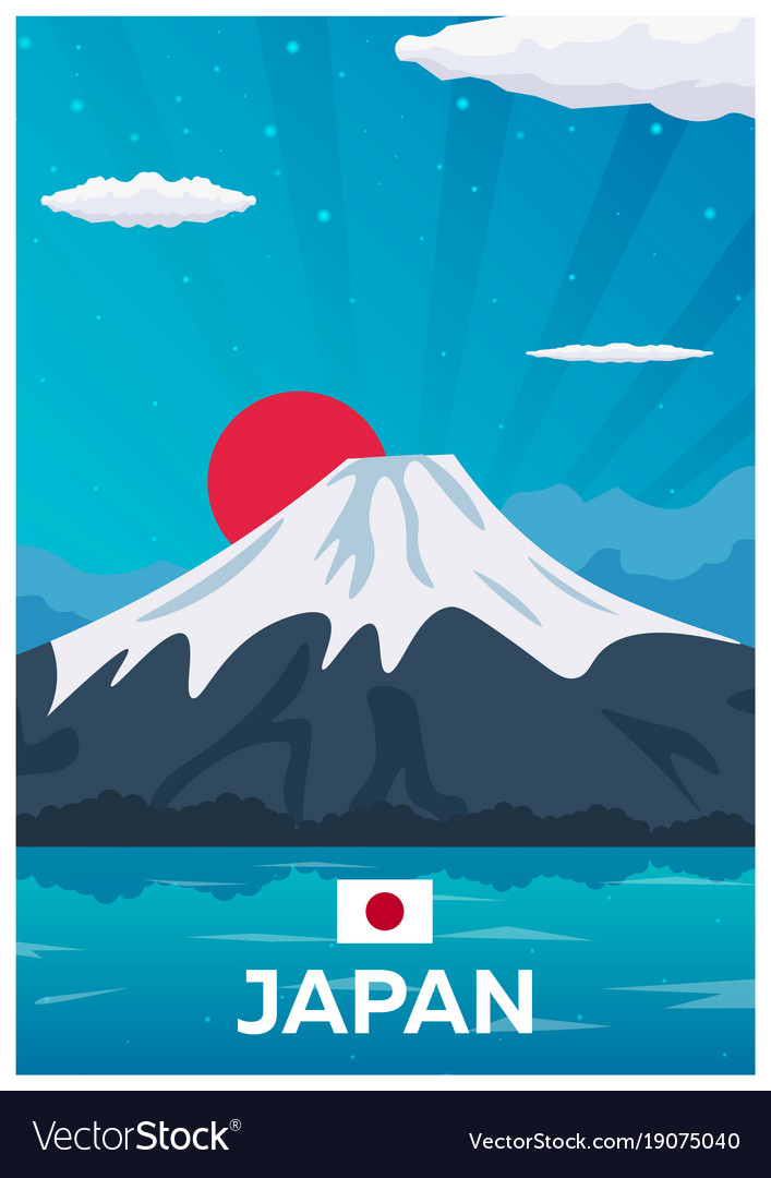 Travel Poster To Japan Flat Royalty Free Vector Image