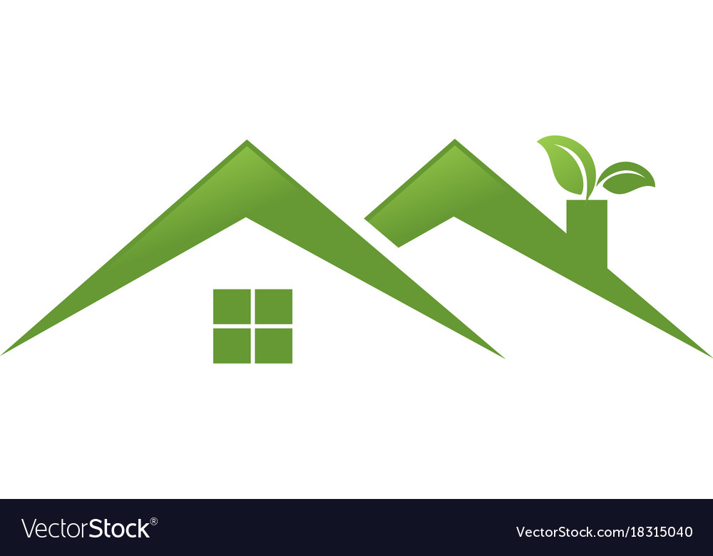 Twin green home with leaf logo