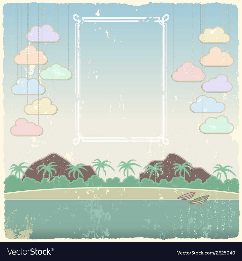 Vintage seaside view poster template