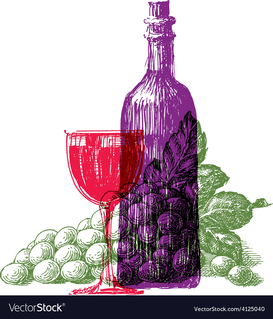 Wine logo design template grapes or